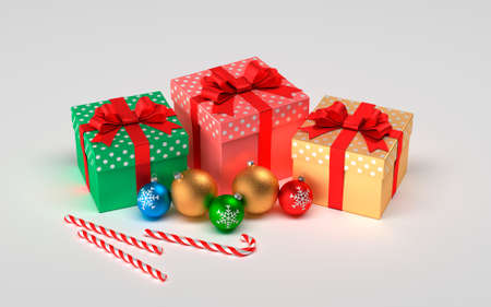 Christmas presents isolated on a white background. Christmas balls, gifts and christmas caramel.