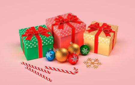 Christmas presents on a pink background. Christmas balls, gifts and christmas caramel. Banco de Imagens