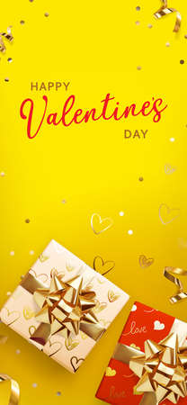 Valentine gift boxes on yellow background, great design for any purposes. Greeting card, banner, poster. Vector illustration banner, card, postcard. 3d realistic vector background.