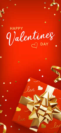 Valentine gift box on red background, great design for any purposes. Greeting card, banner, poster. Vector illustration banner, card, postcard. 3d realistic vector background.