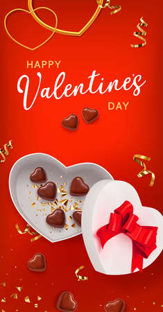 Valentine gift box shape heart on red background with chocolate shape heart. Great design for any purposes. Greeting card, banner, poster. Vector illustration banner, card, postcard. 3d realistic vector background.