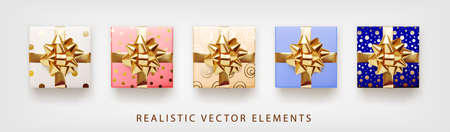 Collection of gift presents with golden foil bow. Set of 3d realistic gift boxes with pattern white, pink, beige, blue colors.