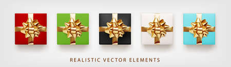 Collection of gift presents with golden foil bow. Set of 3d realistic gift boxes white, red, green, blue colors. Ilustração