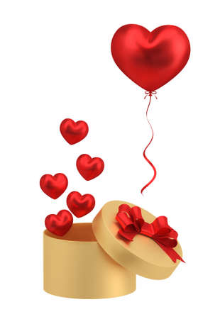 Gold gift box with red balloons heart shape isolated on white background. 3D illustration.