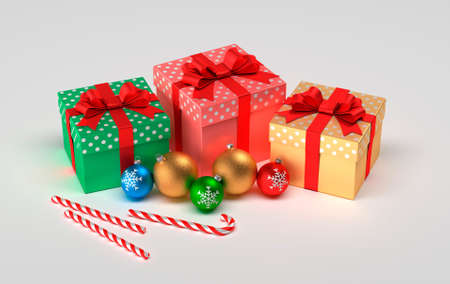 Christmas presents isolated on a white background. Christmas balls, gifts and christmas caramel. 3D illustration
