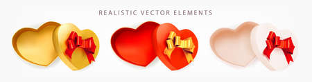 Set of Valentine empty Boxes heart with red, gold bow on white background. Open gift box. 3d realistic vector. Collection of realistic gifts presents flat lay top view. Vector illustration.