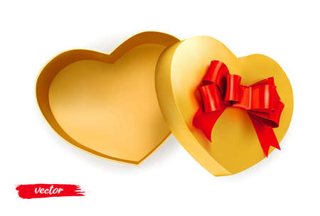 Gold empty box heart with red bow on white background. Open gift box. 3d realistic vector. Romantic holiday presents Heart shape. Vector illustration.