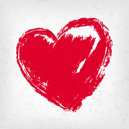 Beautiful red heart hand draw, vector element for your design Vectores