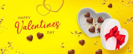 Valentine gift box shape heart on yellow background with chocolate shape heart. Great design for any purposes. Greeting card, banner, poster. Vector illustration banner, card, postcard. 3d realistic vector background. Vectores