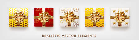 Collection of gift presents with golden foil bow. Set of 3d realistic gift boxes with pattern red, yellow, white colors.