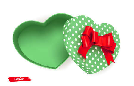Green heart shape gift box with red bow and polka dot pattern on white background. Open gift box. 3d realistic vector. Romantic holiday presents Heart shape. Vector illustration.