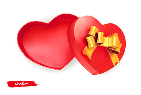 Red heart shape gift with golden bow on white background. Open gift box. 3d realistic vector. Romantic holiday presents Heart shape. Vector illustration.