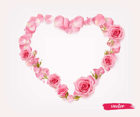 3D realistic isolated rose petal heart for celebration design. Heart shape from petals, buds and opened flowers of roses.