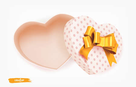 Pink heart shape gift box with gold bow and polka dot pattern on white background. Open gift box. 3d realistic vector. Romantic holiday presents Heart shape. Vector illustration.