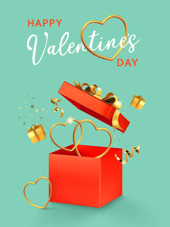 Valentines day design. Open red gift box with assortment gold boxes, hearts, confetti on. 3d realistic vector. Holiday poster, flyer, banner.