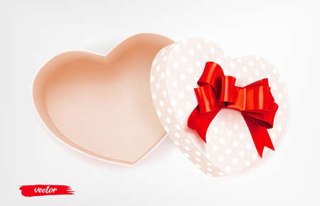Pink heart shape gift box with red bow and polka dot pattern on white background. Open gift box. 3d realistic vector. Romantic holiday presents Heart shape. Vector illustration.