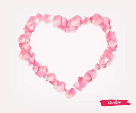 3D realistic isolated rose petal heart for valentines day.