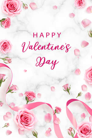 Valentines Day background with rose petals and rose buds. Rose flowers with pink ribbon on marble background. 3d realistic vector. Holiday poster, flyer, banner. Ilustração