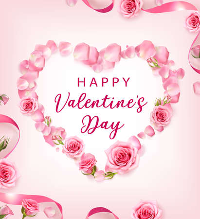 Valentines Day background with rose petals and rose buds shaped a Heart. Rose flowers with pink ribbon on pink background. 3d realistic vector. Holiday poster, flyer, banner. Ilustração
