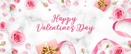 Valentines Day background with rose petals and rose buds. Rose flowers with pink ribbon and gift boxes on marble background. 3d realistic vector. Holiday poster, flyer, banner.