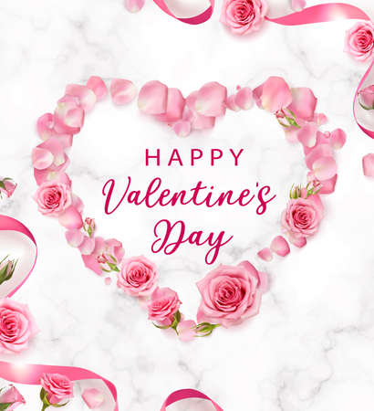 Valentines Day background with rose petals and rose buds shaped a Heart. Rose flowers with pink ribbon on marble background. 3d realistic vector. Holiday poster, flyer, banner. Ilustração