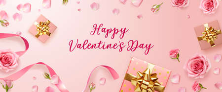 Valentines Day background with rose petals and rose buds. Rose flowers with pink ribbon and gift boxes on pink background. 3d realistic vector. Holiday poster, flyer, banner. Ilustração
