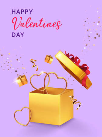 Valentines day design. Open gold gift box with assortment boxes, golden hearts, confetti on lilac background. 3d realistic vector. Holiday poster, flyer, banner.