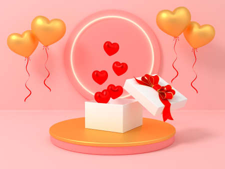 Podium display for Valentines Day with white gift box. Abstract design template. 3d render valentine abstract background product. Stand product mockup. 3D illustration.