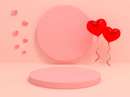 Podium display for Valentines Day. Abstract design template. 3d render valentine abstract background product. Stand product mockup. 3D illustration