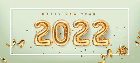 2022 golden decoration holiday on green background. Happy new year 2022 holiday. Shiny party background. Gold foil balloons numeral 2022 with realistic festive objects,, glitter gold confetti and serpentine. Horizontal banner. Realistic 3d vector illustration.