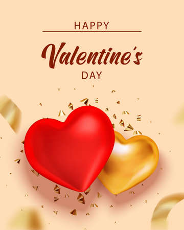 Valentine background with heart and gold serpentine for banner design. Holiday gift box. Greeting card, invitation, flyer. 3d realistic vector.