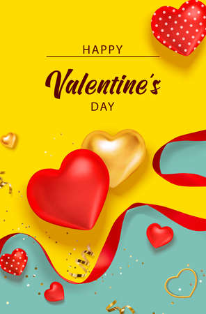 Valentine background with hearts, red ribbon for banner design. Holiday gift box. Greeting card, invitation, flyer. 3d realistic vector. Ilustração