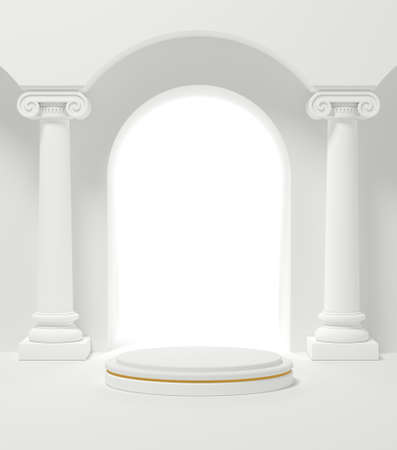 Podium platform for product presentation with classic roman columns. Cylinder show cosmetic product. Mockup.