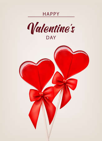Valentine background with caramel hearts and red ribbon for banner design. Greeting card, invitation, flyer. 3d realistic vector. Vector illustration isolated. Vectores