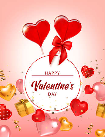 Valentine background with caramel hearts and gift boxes. Greeting card, invitation, flyer. 3d realistic vector. Vector illustration isolated.
