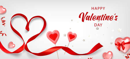 Valentine background with red heart, caramel, red ribbon and gold serpentine. Greeting card, invitation, flyer. 3d realistic vector. Vectores