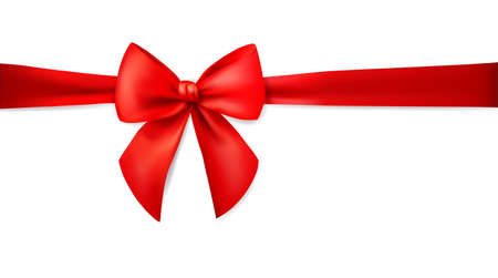 Red ribbon with bow isolated on white background. Holiday decoration. Realistic 3d vector illustration.