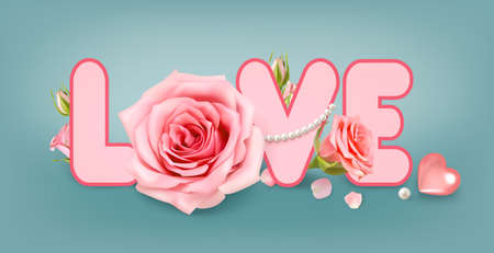 Love. Poster with valentine rose on blue background for decoration design. 3D realistic vector. Valentine Greeting card, banner, poster.
