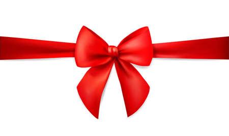 Red ribbon with bow for card isolated on white background. Xmas present. Holiday decoration. Realistic 3d vector illustration.