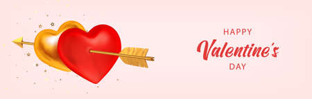 Valentines day luxury banner, poster, invitation. Couple red and golden hearts pierced by Cupids golden arrow isolated. 3d realistic vector illustration.