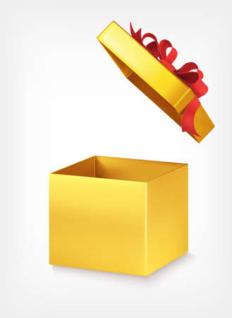 Gold empty gift box with red bow on white background. Open gift box. Sale. 3d realistic vector illustration. Vectores