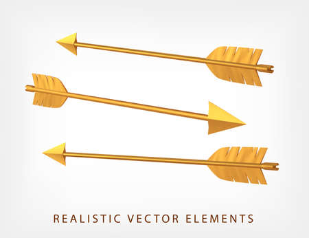 Set of golden arrows isolated. 3D realistic vector. Collection of metallic Cupids arrows. Vectores