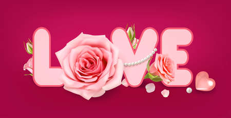 Love. Poster with valentine rose on ddark red background for decoration design. 3D realistic vector. Valentine Greeting card, banner, poster.