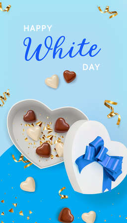 Happy White Day. White chocolate in white gift box shaped Heart on blue background. 3d realistic vector illustration.