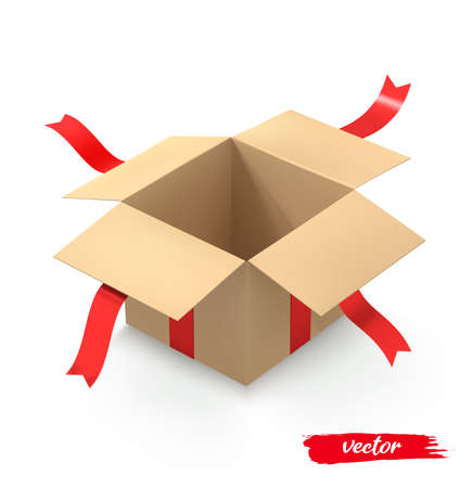 Open gift box surprise with red ribbon. 3d realistic vector illustration.