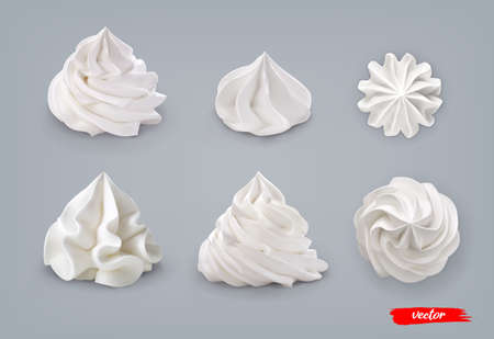 Set of whipped cream isolated on blue background. 3d realistic vector illustration of whipped cream.