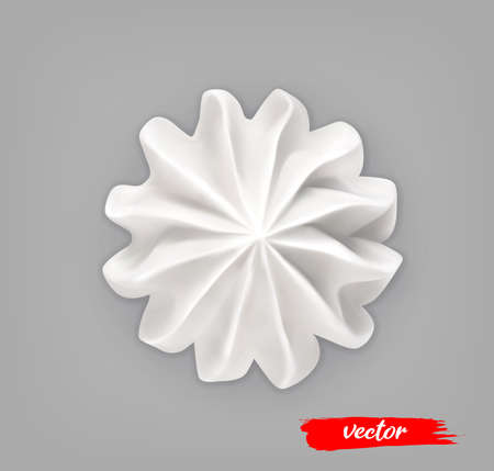 Whipped Cream on gray background. 3d realistic vector illustration of meringue. Top view.