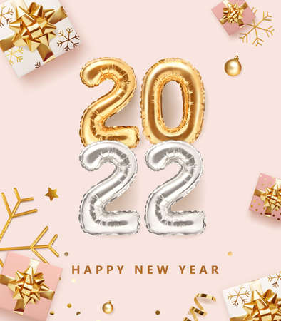 2022 golden decoration holiday on pink color background. Gold foil balloons numeral 2022 with realistic festive objects, glitter gold confetti, gifts and serpentine. Realistic 3d vector illustration.