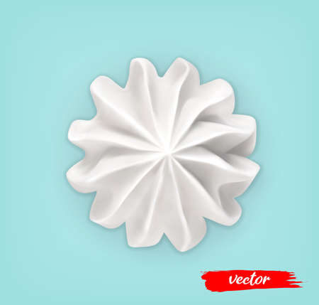 Whipped Cream on blue background. 3d realistic vector illustration of meringue. Top view.
