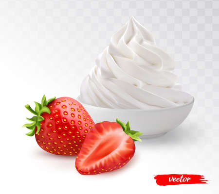White bowl of whipped cream with whole strawberry and half strawberry. 3d realistic vector illustration of whipped cream with strawberries. Vectores